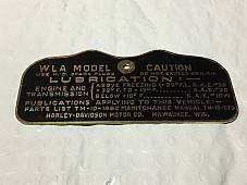 Harley WLA Military Data Plate Tank Nomenclature Tag 1942-43 OEM# 3531-40M