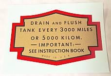 Harley Oil Tank Service Decal Knucklehead UL ULH 1936 to ? Water Slide Type
