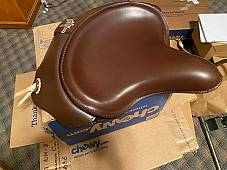 Harley 1939 Knucklehead UL WL Seat Saddle W/ Leather Skirt No Hole Pan Conchos