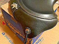 Harley 1939 Knucklehead UL WL Seat Saddle W/ Leather Skirt No Hole Pan Black