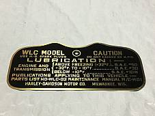 Harley Canadian WLC Military Data Plate Tank Nomenclature Tag WWII 1941-42