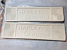 Harley 2940-14W JD VL Knuckle White Canvas Back Footboard Mats w/Rivets 1914-39
