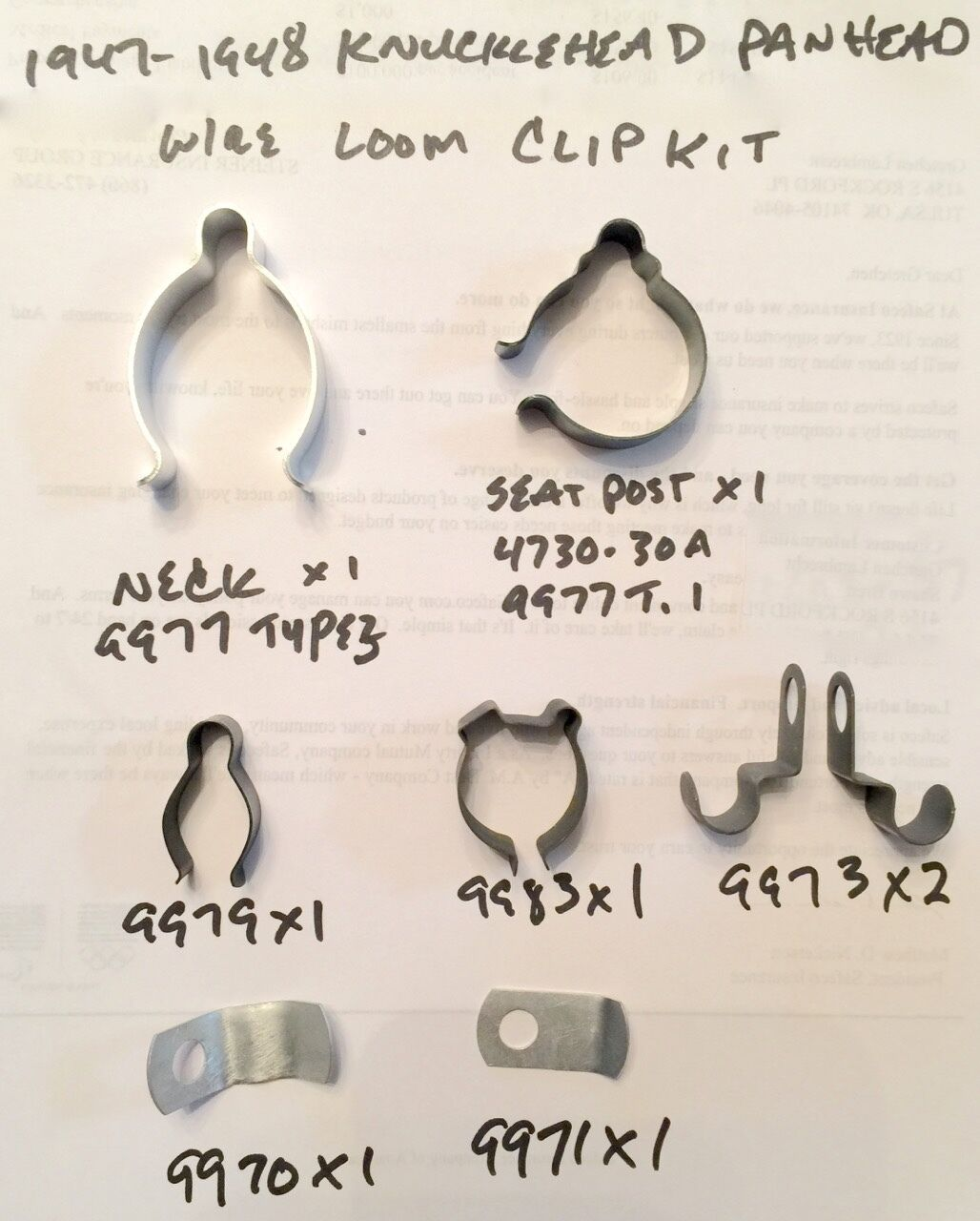Harley 47 48 Knucklehead Panhead Main Wire Loom Clip Clamp Kit Wiring Clips 4748 473030a 9977