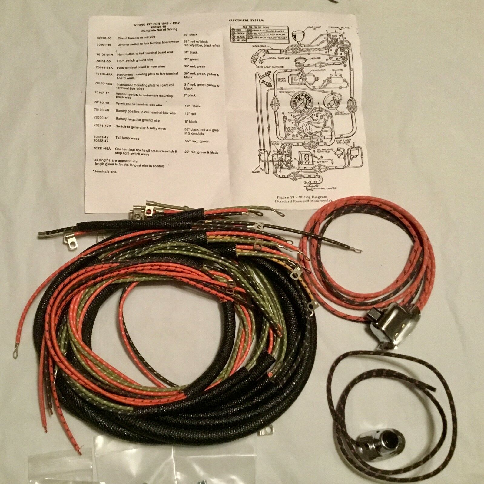 Harley 70321-48 Complete Panhead 1949-57 Wiring Harness W/ Wired Switches on