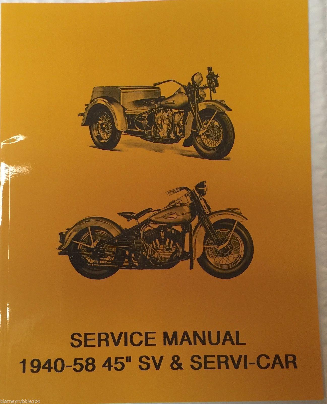 "Harley 45"" Solo & Servicar WL WLA Service Manual 1940-58 on"