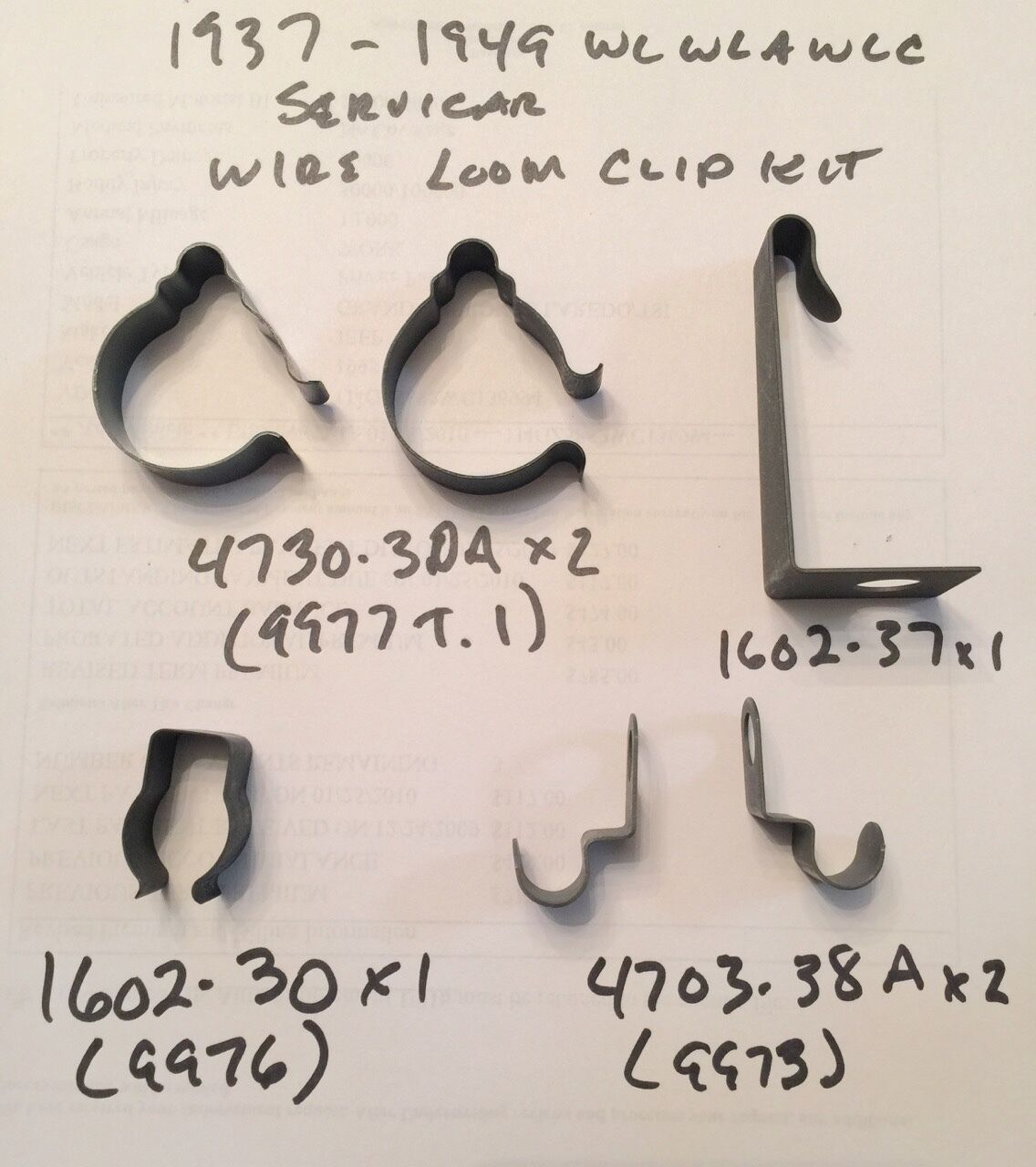 Harley 1937 1949 Wl Wla Servicar Main Wire Loom Clip Clamp Kit Wiring Clips 19371949 160237 473030