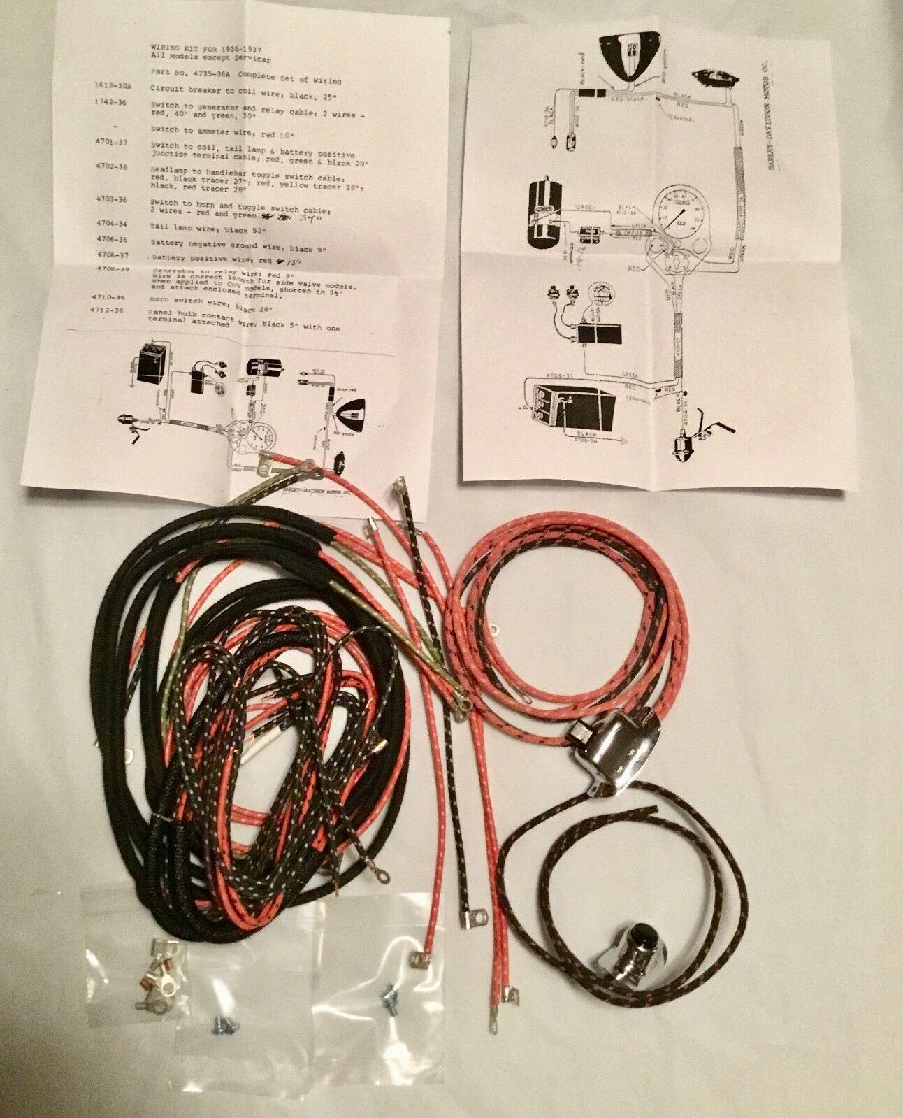 Harley 4735-36 1936-37 Knucklehead UL W Wiring Harness Kit W/ Wired on harley rolling chassis kits, harley exhaust kits, harley front end kits, harley gas tank kits, harley oil filter kits, harley cable kits, harley decal kits, harley swingarm kits, harley air cleaner kits, harley handlebar wiring extension kits, harley oil cooler kits, harley turbocharger kits, harley air bag kits, harley frame kits, harley supercharger kits, harley engine kits, harley radio kits, harley clutch kits,