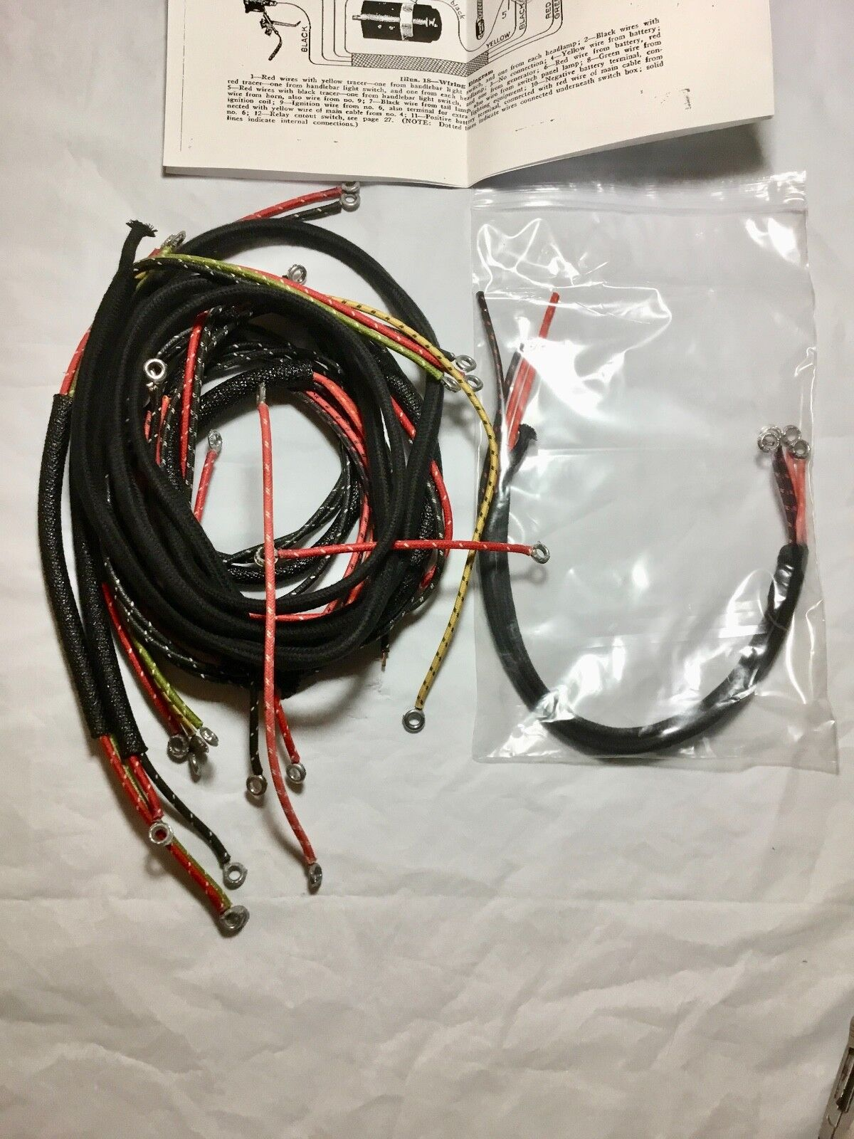 Harley 1930 VL DL Wiring Harness Kit w/ Correct Soldered Ends Dual on
