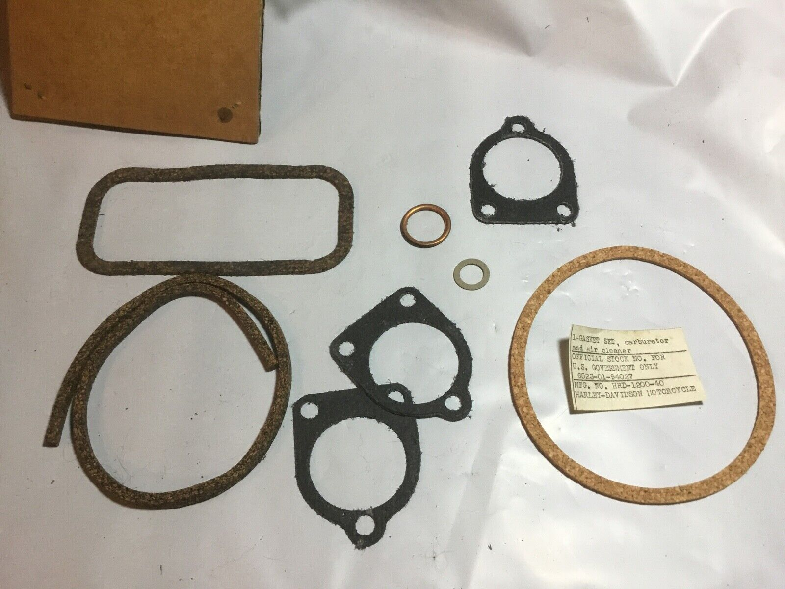 Harley NOS OEM WLA WLC UA Oil Bath Air Cleaner & Carb Gasket Kit OEM#  1200-40