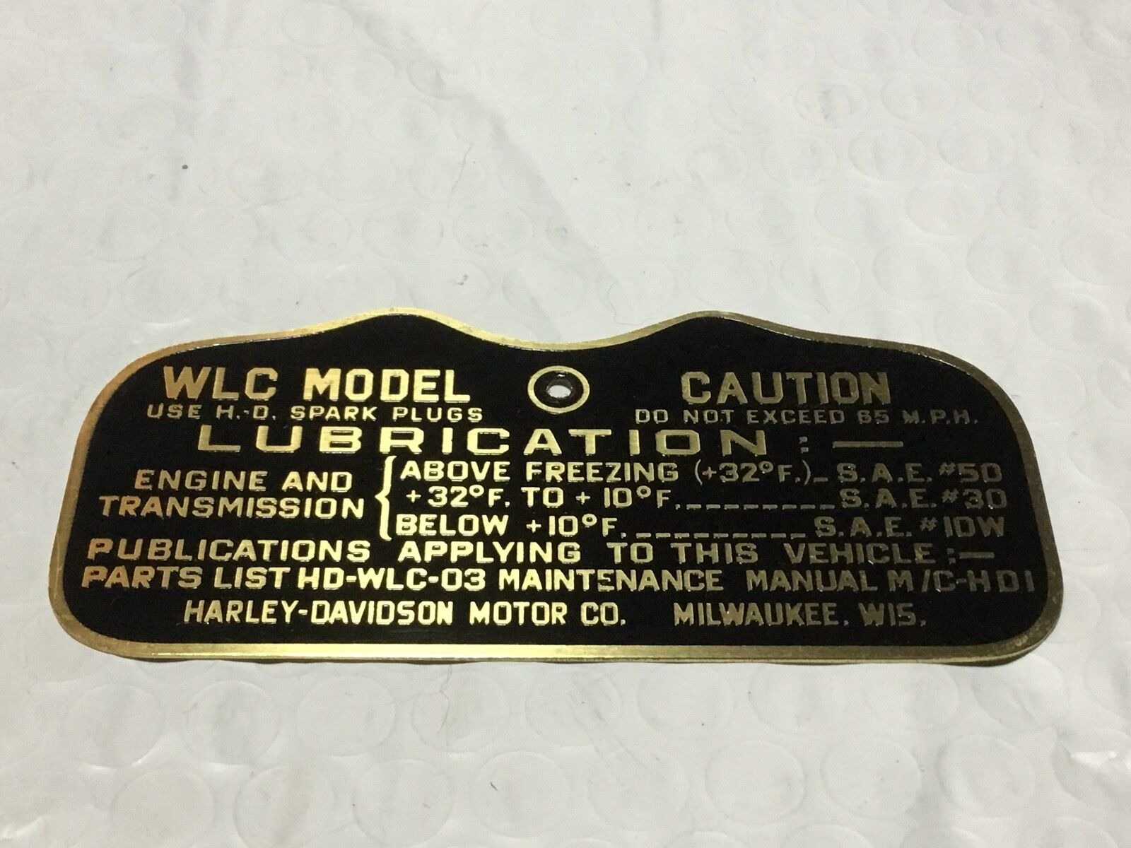 Harley Canadian Wlc Military Data Plate Tank Nomenclature Tag Wwii Wiring Harness 194142